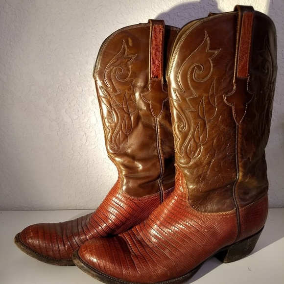 57dd52c36f9 Red- Brown Lizard / Leather Western Cowboy Boots